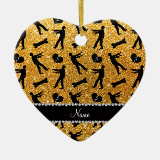 Custom name yellow glitter zombies Double-Sided heart ceramic christmas ornament