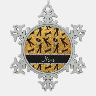 Custom name yellow glitter zombies snowflake pewter christmas ornament