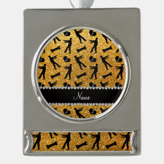 Custom name yellow glitter zombies silver plated banner ornament