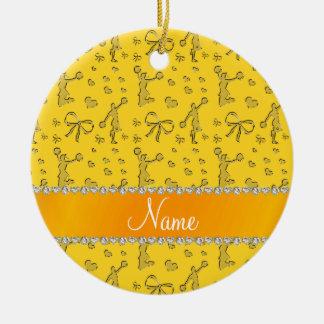 Custom name yellow gold cheerleading bows hearts ceramic ornament
