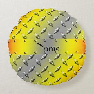 Custom name yellow gray diamond plate steel round pillow