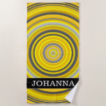[ Thumbnail: Custom Name + Yellow & Gray Nested Circles Pattern Beach Towel ]