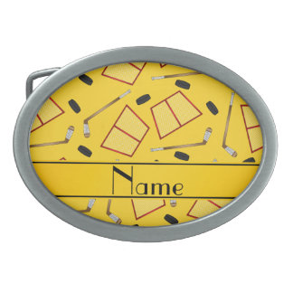 Custom name yellow hockey sticks pucks nets belt buckles