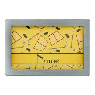 Custom name yellow hockey sticks pucks nets rectangular belt buckle