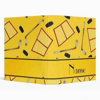 Custom name yellow hockey sticks pucks nets binder