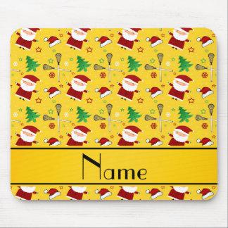Custom name yellow lacrosse christmas pattern mousepad