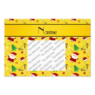 Custom name yellow lacrosse christmas pattern photograph