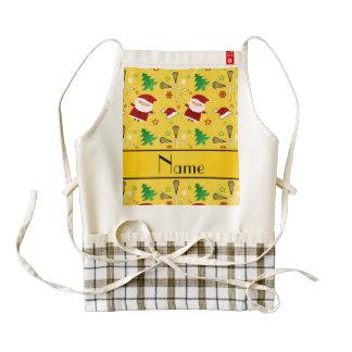 Custom name yellow lacrosse christmas pattern zazzle HEART apron