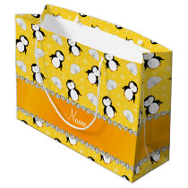 Custom name yellow penguins igloos snowflakes large gift bag
