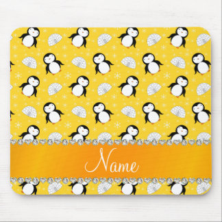 Custom name yellow penguins igloos snowflakes mouse pad