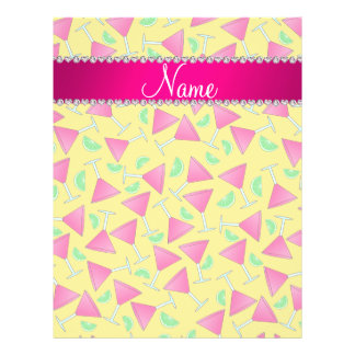 """Custom name yellow pink cosmos limes 8.5"""" x 11"""" flyer"""