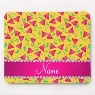 Custom name yellow pink cosmos limes mouse pad