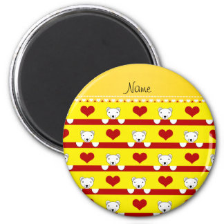 Custom name yellow polar bears red hearts stripes 2 inch round magnet