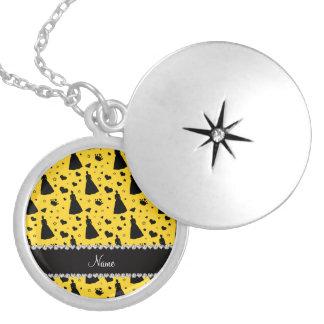 Custom name yellow princess hearts stars crown round locket necklace
