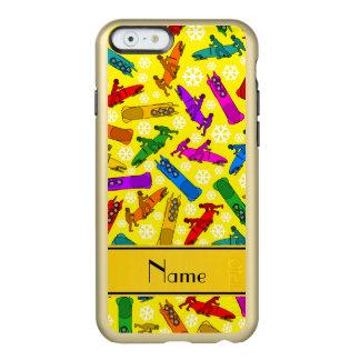 Custom name yellow rainbow bobsleigh snowflakes incipio feather® shine iPhone 6 case
