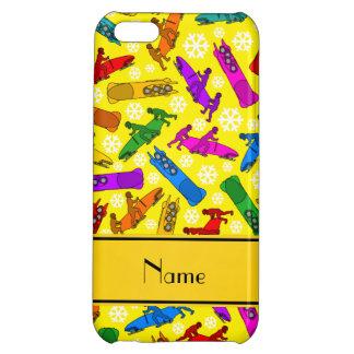 Custom name yellow rainbow bobsleigh snowflakes iPhone 5C cases