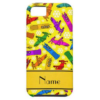 Custom name yellow rainbow bobsleigh snowflakes iPhone SE/5/5s case