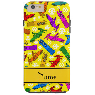 Custom name yellow rainbow bobsleigh snowflakes tough iPhone 6 plus case