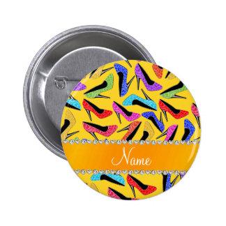 Custom name yellow rainbow leopard high heels 2 inch round button