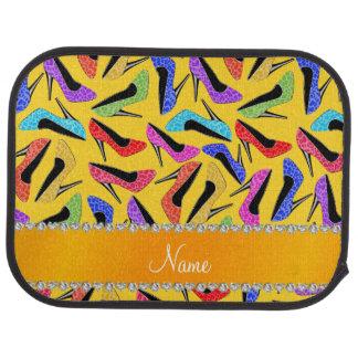 Custom name yellow rainbow leopard high heels car floor mat