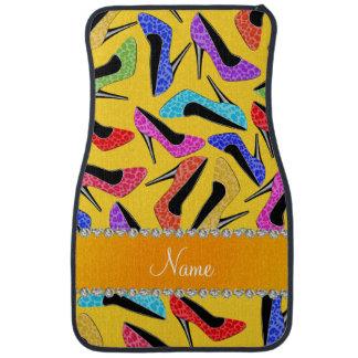 Custom name yellow rainbow leopard high heels car mat