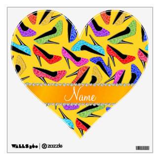 Custom name yellow rainbow leopard high heels room sticker