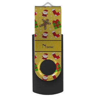 Custom name yellow santas gingerbread swivel USB 2.0 flash drive