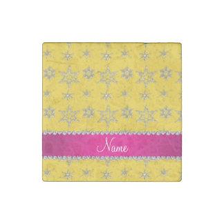 Custom name yellow silver snowflakes pink stripe stone magnet