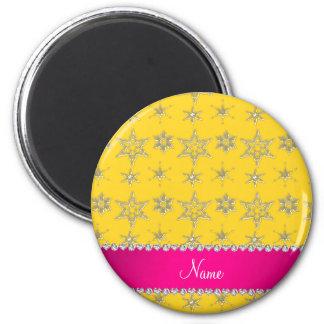 Custom name yellow silver snowflakes pink stripe refrigerator magnet