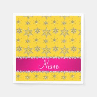 Custom name yellow silver snowflakes pink stripe standard cocktail napkin