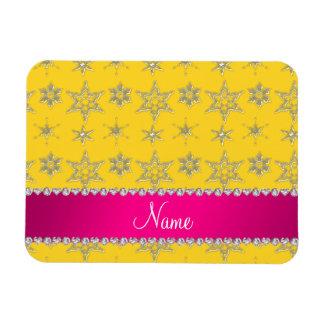 Custom name yellow silver snowflakes pink stripe flexible magnet