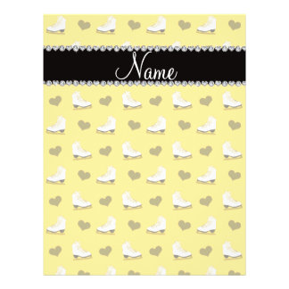 "Custom name yellow skates and hearts 8.5"" x 11"" flyer"