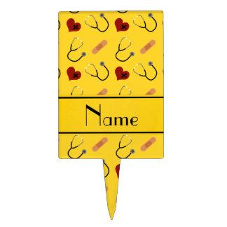 Custom name yellow stethoscope bandage heart cake topper