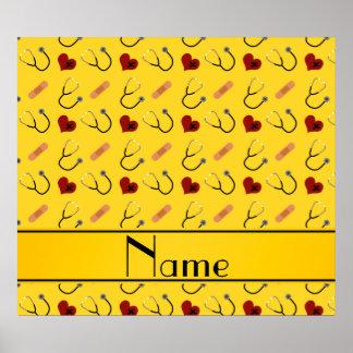 Custom name yellow stethoscope bandage heart poster