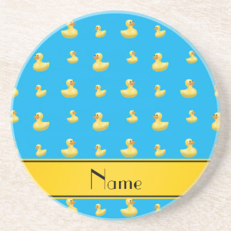 Custom name yellow stripe sky blue rubber duck beverage coaster