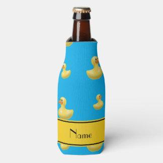 Custom name yellow stripe sky blue rubber duck bottle cooler