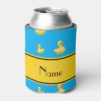 Custom name yellow stripe sky blue rubber duck can cooler