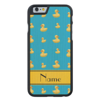 Custom name yellow stripe sky blue rubber duck carved® maple iPhone 6 case