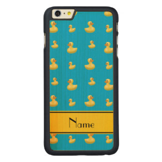 Custom name yellow stripe sky blue rubber duck carved® maple iPhone 6 plus case