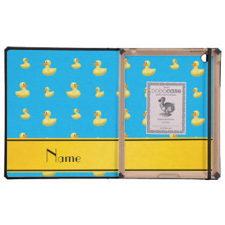 Custom name yellow stripe sky blue rubber duck cases for iPad