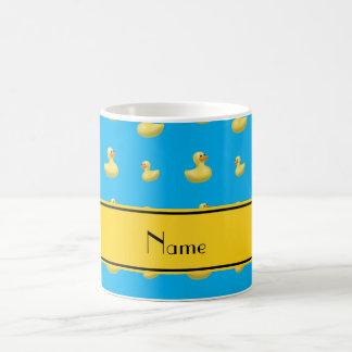 Custom name yellow stripe sky blue rubber duck coffee mug