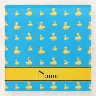 Custom name yellow stripe sky blue rubber duck glass coaster