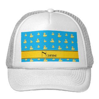 Custom name yellow stripe sky blue rubber duck hat