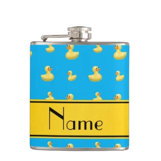 Custom name yellow stripe sky blue rubber duck hip flask