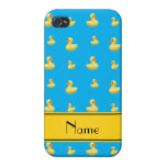 Custom name yellow stripe sky blue rubber duck iPhone 4/4S covers