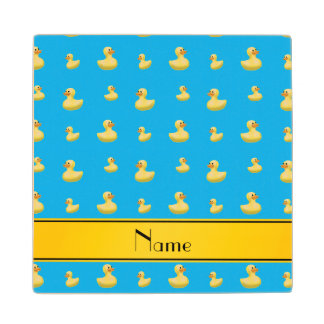 Custom name yellow stripe sky blue rubber duck maple wood coaster