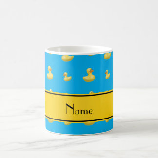 Custom name yellow stripe sky blue rubber duck classic white coffee mug