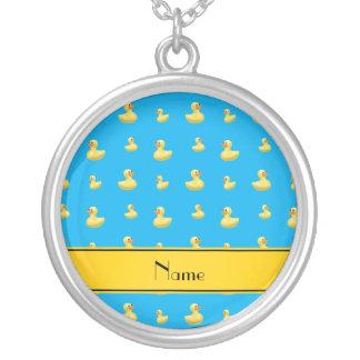 Custom name yellow stripe sky blue rubber duck pendant