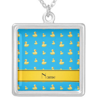 Custom name yellow stripe sky blue rubber duck necklaces