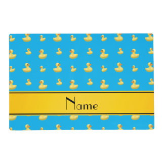Custom name yellow stripe sky blue rubber duck laminated place mat